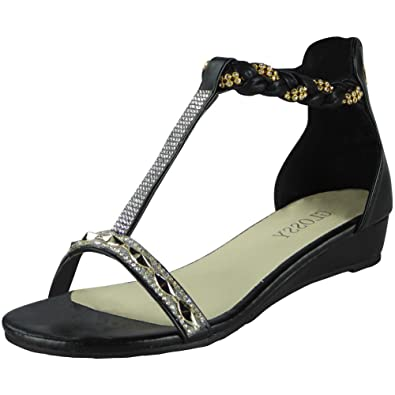 cde0cb55f0d Womens Studded Gladiator Sandals Ladies T-Bar Comfy Low Wedge Heel Shoes  Size 3