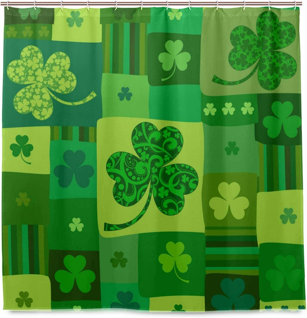 "Irish Flag St.Patrick Bathroom Waterproof Fabric Shower Curtain Hooks Set 60//72/"""
