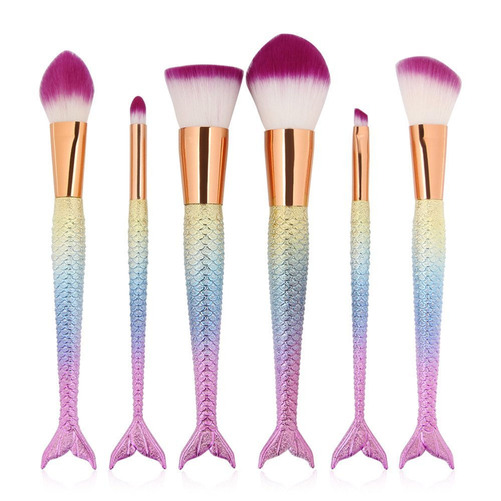 6 Pieces Mermaid Makeup Brush Set Lovely Makeup Brush Kit for Girls Portable Beauty Cosmetic Tools Women Cosmetic Concealer Brush