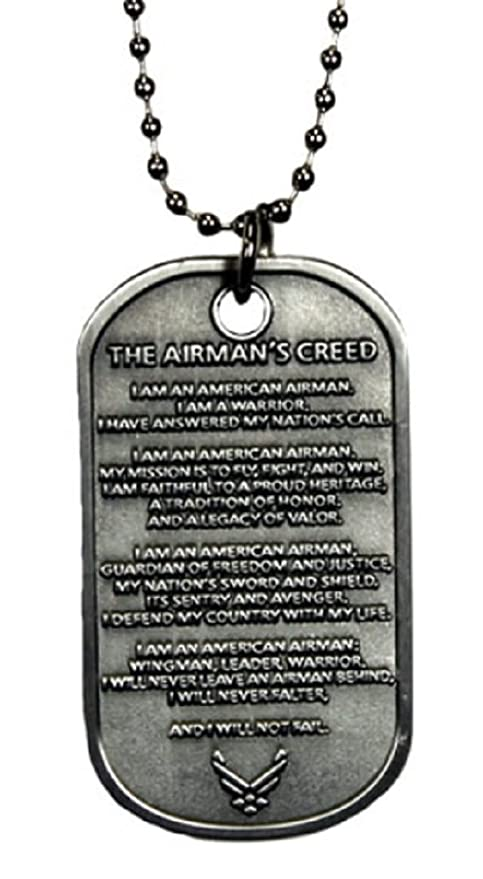 Amazon usaf us air force the airmans creed military dog tag usaf us air force the airmans creed military dog tag with chain altavistaventures Images
