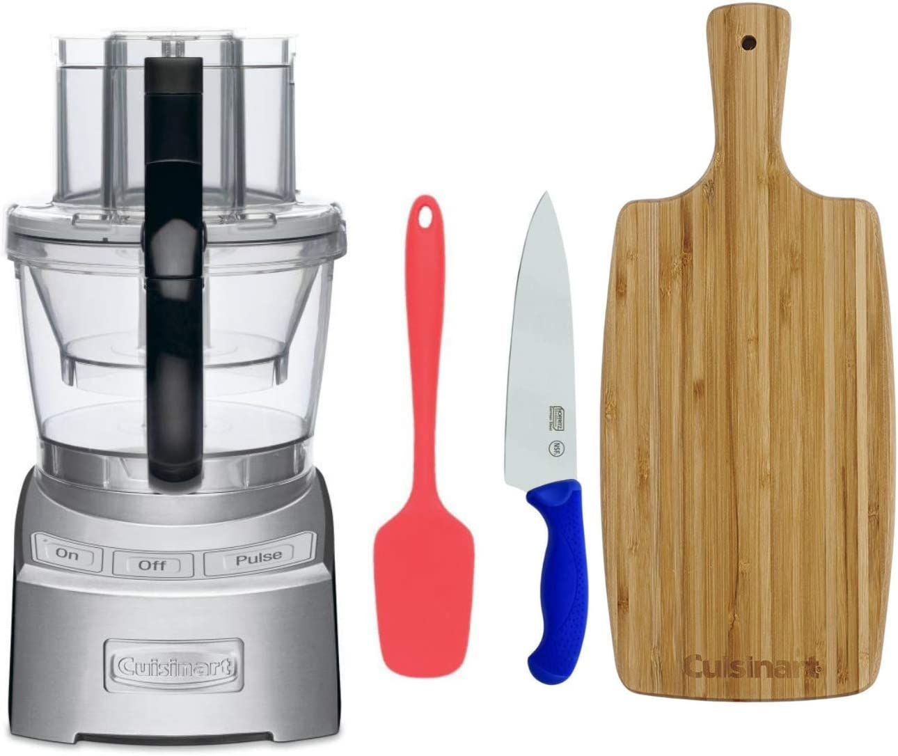 Cuisinart FP12DC Elite Collection 12-Cup Food Processor (Die Cast) w/ Spoon Spatula, Bamboo Cutting Board, & Chef Knife (4 Items)