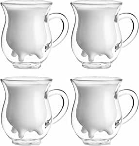 250ml Handcraft Borosilicate Glass Cup Creative Cute Tea Milk Cup Coffee Glass Cup,Set of 4