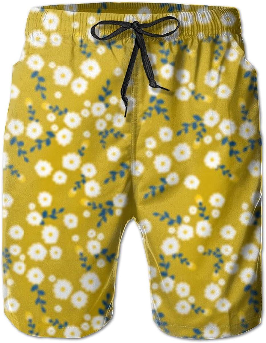 TNIJWMG Mens Board Shorts Autumn Yellow Daisy Holiday Swim Trunks Mesh Lining