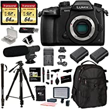 Panasonic Lumix DC-GH5 Mirrorless Micro Four Thirds Digital Camera Body, 2X Transcend 64GB, Professional Video LED Light, Microphone, Accessory Bundle