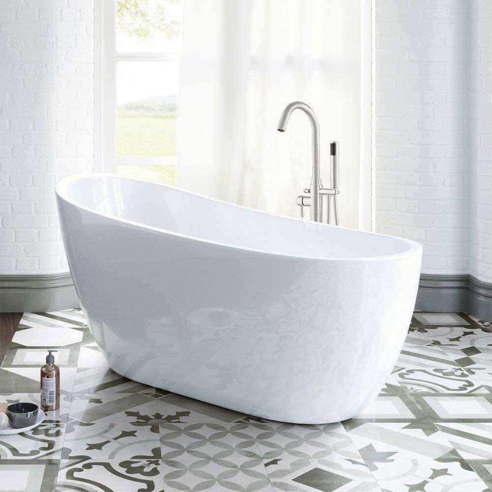 Woodbridge 54 Acrylic Freestanding Bathtub Contemporary Soaking Tub With Brushed Nickel Overflow And Drain Bta1507 B White Amazon Com