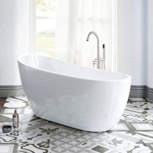 "WOODBRIDGE White 54"" Acrylic Freestanding Bathtub Contemporary Soaking Tub with Brushed Nickel Overflow and Drain, B-0006 / BTA1507"