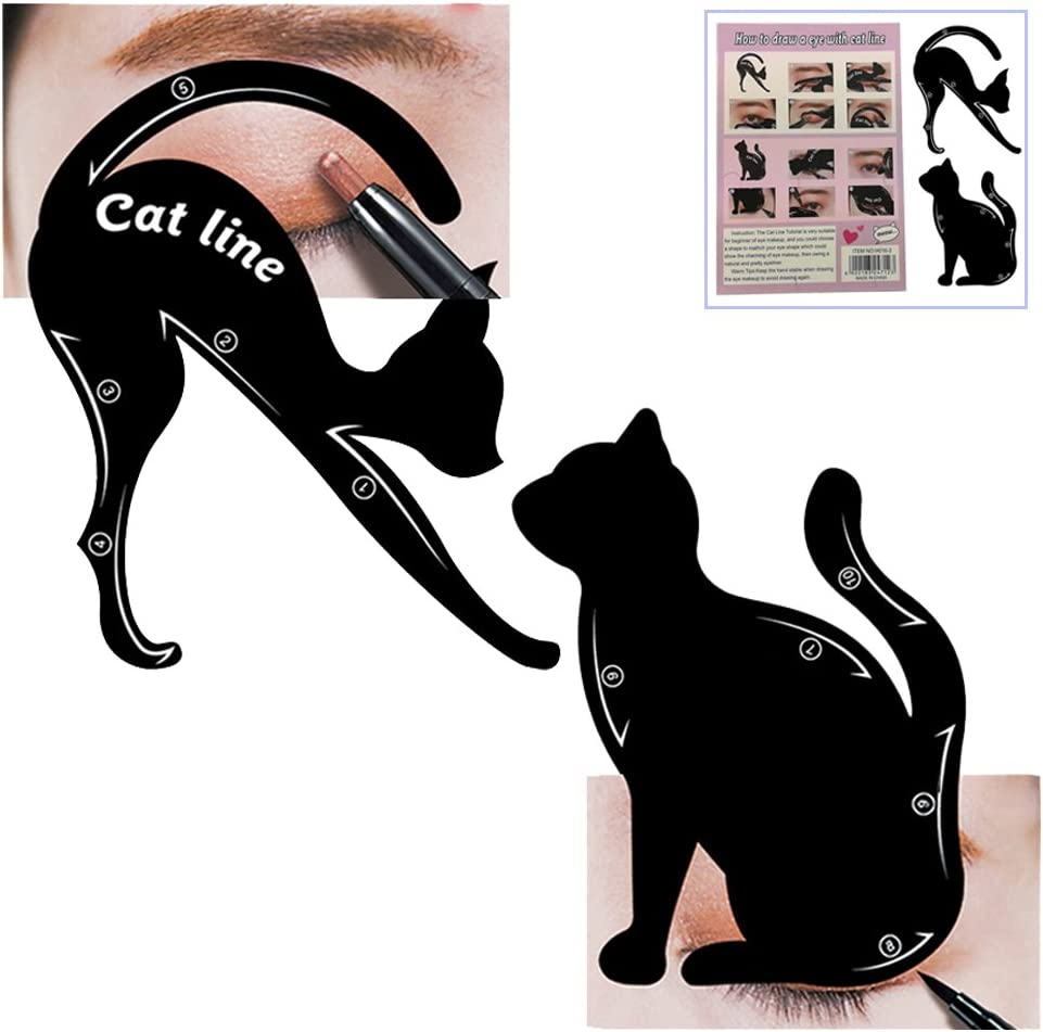 Cat Eyeliner Stencil, Frosted PVC Material Smokey Eye Liner Makeup Stencil Template Stamp,Multifunction Applicators Eyeshadows Make Up Tools(1 PACK): Amazon.es: Belleza