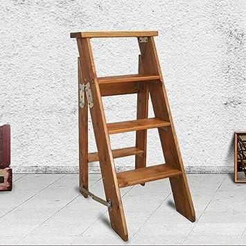JTD Inicio Taburete Escaleras de tijera plegables de madera Escalera plegable Taburetes Escaleras Tienda de renovación del hogar multifunción Escalera de carga Taburete de 4 peldaños: Amazon.es: Bricolaje y herramientas