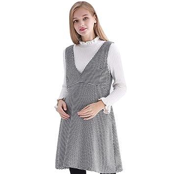 b66093f96 Vestidos Ropa premamá Ropa de Maternidad sin Mangas Suelto clásico Gris  Houndstooth Falda Ropa de Lactancia
