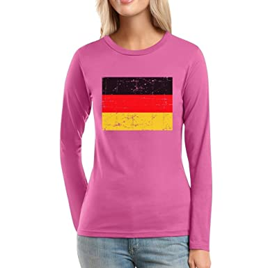 f3054e46fd5f Shirtgeil Deutschland Flagge Fahne Fanshirt Frauen Langarm-T-Shirt  Amazon. de  Bekleidung