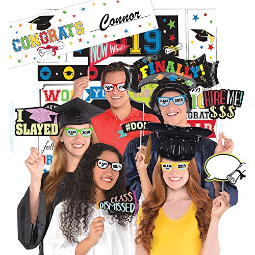 Party City 2019 Graduation Multicolor Super Photo Booth Supplies with Banner, Rainbow Scene Setter, and 23 Props