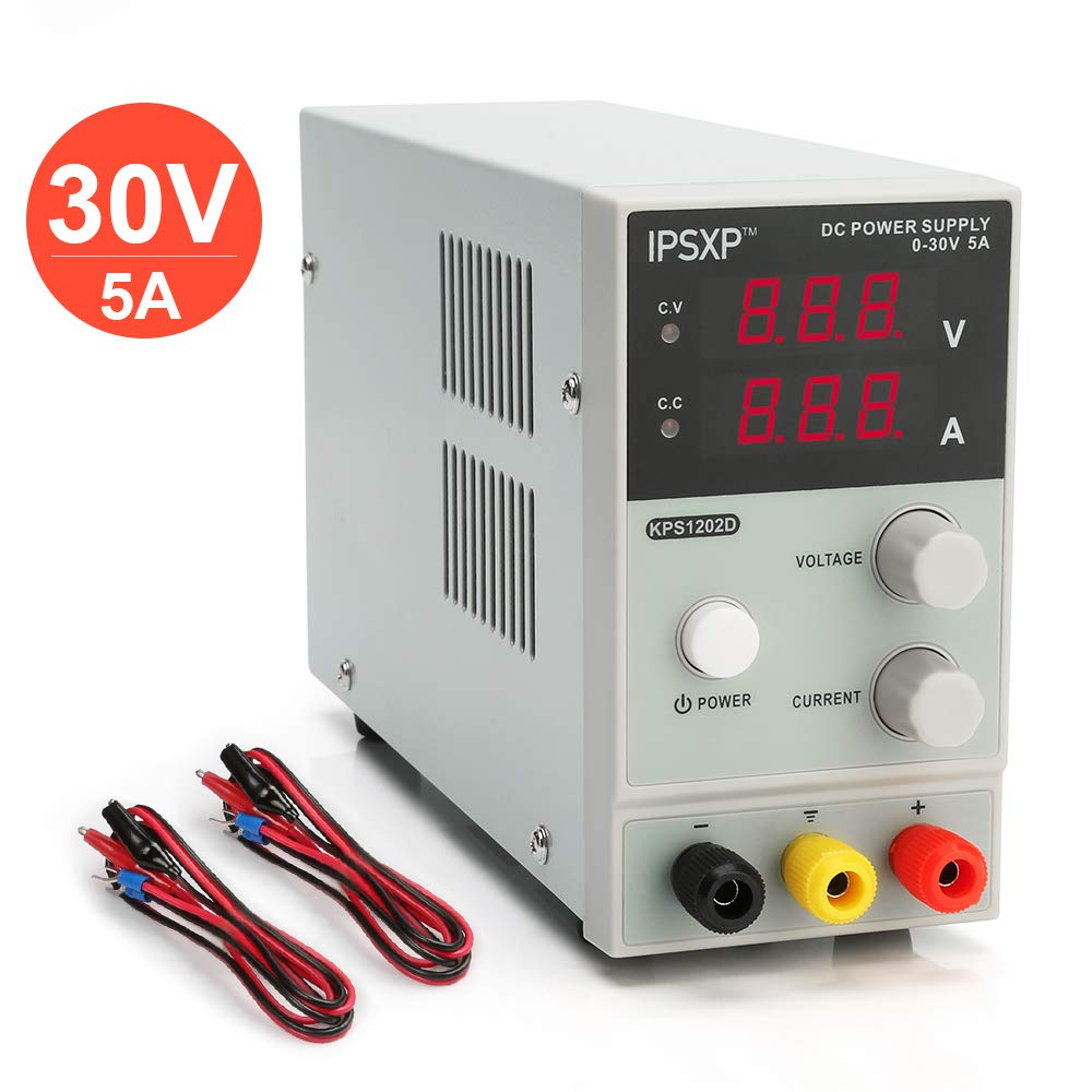 Variable DC Power Supply, IPSXP KPS1202D Adjustable Switching Regulated Power Supply Digital, 0-30 V 0-5 A with Alligator Leads US Power Cord by IPSXP