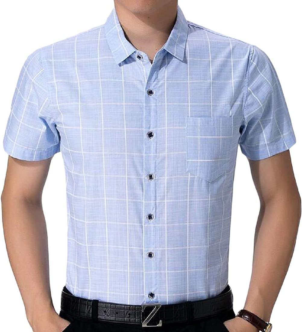 Pandapang Mens Slim Fit Short Sleeve Plaid Cotton Cozy Button Down Shirts