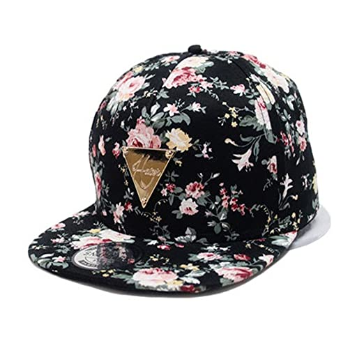 ead497d9 Image Unavailable. Image not available for. Color: Vosenaer Women's Floral  Flower Snapback Adjustable Fitted Hip-Hop Cap Hat Headwear