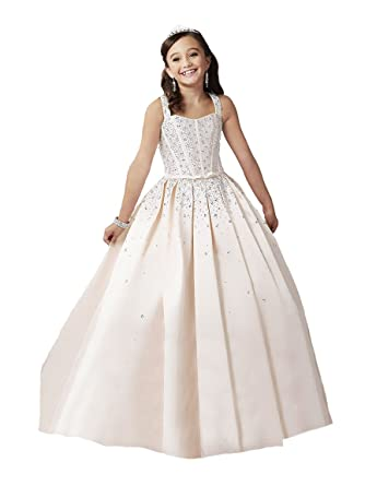 Girls A Line Crystals Party Prom Dress Straps Long Pageant Gown 2 US Champagne