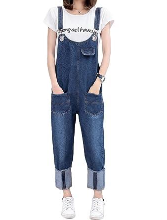41117910772d6f MatchLife Damen Breite Beine Hosen Loose Denim Jeans Jumpsuit Latzhose  Overalls Style11-Blau Fit EU