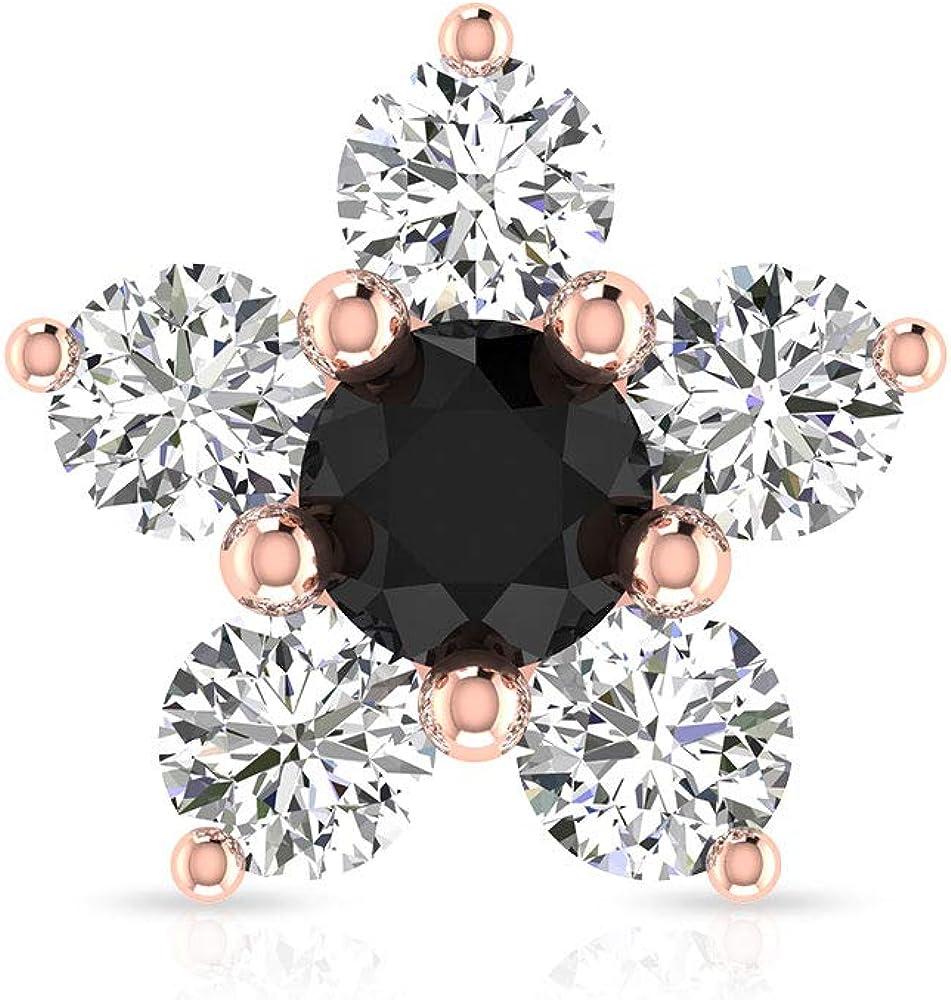 Pendiente de cartílago de diamante negro, certificado SGL 0,66 ct, diseño de flor de diamante, joyería del cuerpo, caracola de hélice, Body Jewellery, Única pieza, 10K Oro