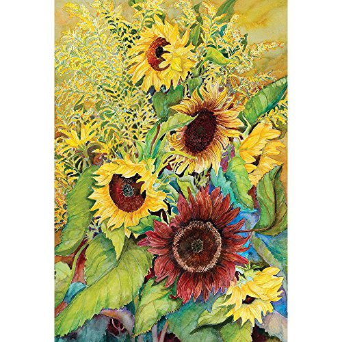 Field Of Sunflowers And Goldenrods 30 x 44 Rectangular Large House Flag