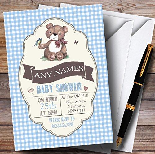 Blue Boys Teddy Bear Picnic Invitations Baby Shower Invitations (Picnic Invitations)