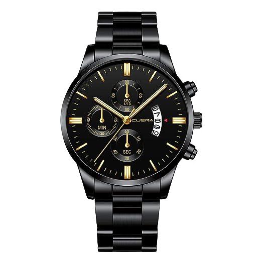 VEHOME Relojes de Moda para Hombre Reloj de Pulsera con Fecha de Acero Inoxidable.-