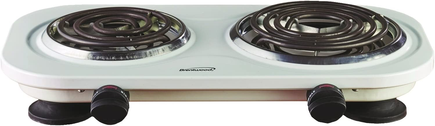 Brentwood Double Electric Burner, 1500-Watt, White