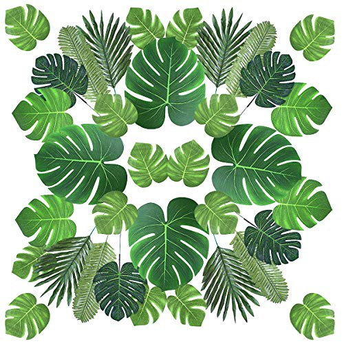 LIUMY 60 Pieces 6 Kinds Artificial Palm Leaves Faux Monstera Leaves with Stems Tropical Plants Leaves for Hawaiian Theme, Party Decoration, Safari Table Decorations, Birthday, Wedding (Palm Leaf Artificial)