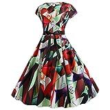 iLOOSKR Plus Size Dress Women Short Sleeve Swing