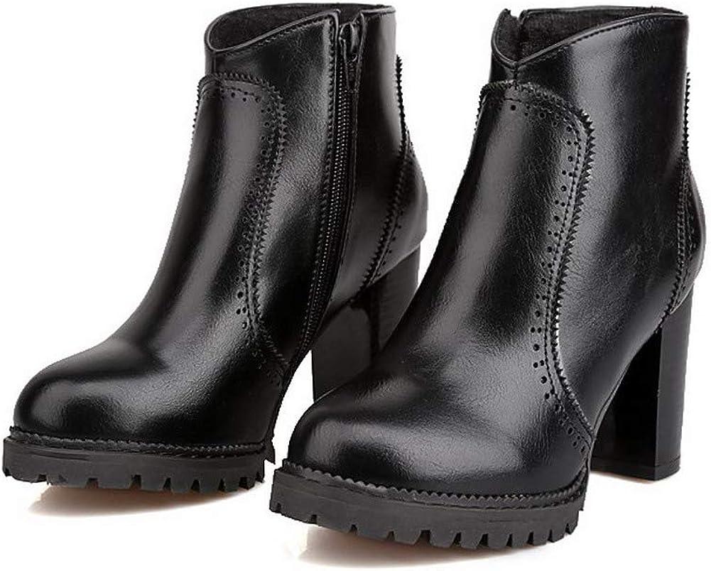 WeiPoot Womens Solid Pu High-Heels Zipper Round-Toe Boots EGHXH022459