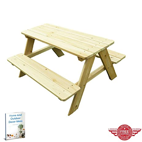Picnic Table,Outdoor Indoor Lawn Garden Yard Kids Room,Portable Wooden  Furniture,Picnic