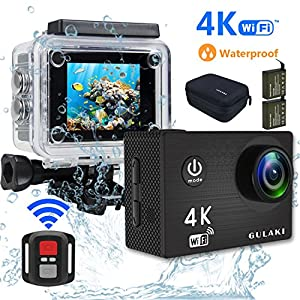 4K Action Camera Waterproof, GULAKI Action Cam Mini Sports Camera with WIFI Remote Control 170 Degree HD Video Wide Angle Full Accessories Kits Case Include 2 Rechargeable Battery