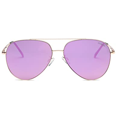 7f64837934 Dumok Aviator Sunglasses Unisex Flat Lens Mirrored Metal Classic Shades  DSR003 With Gold Frame Purple Lens  Amazon.co.uk  Clothing