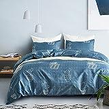 Fire Kirin 3 pcs Duvet Cover Sets Queen/Full Cactus Pattern Bedding Comforter Cover Sets with Zipper Closure for Boys Girls Women Men Lightweight, Hypoallergenic, Soft (Blue)