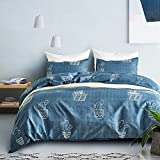 Fire Kirin 3 pcs Duvet Cover Sets Twin Cactus Pattern Bedding Comforter Cover Sets with Zipper Closure for Boys Girls Women Men Lightweight, Hypoallergenic, Soft (Blue)
