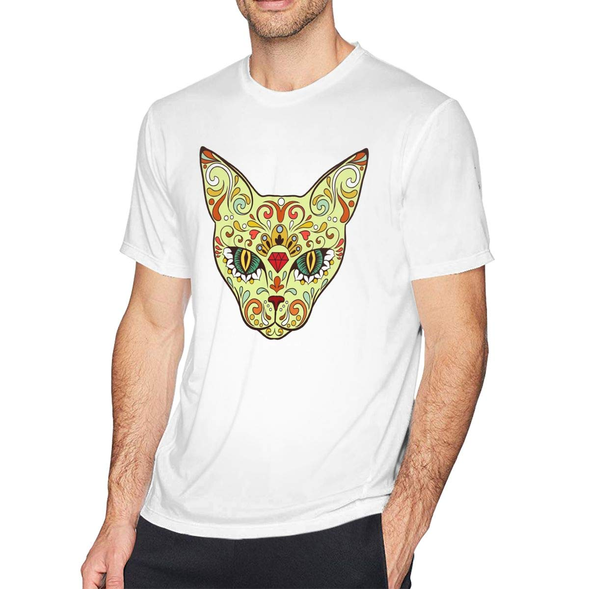 Casual Novelty Day Of The Dead Skull Crazy Cat Crew Neck Short Sleeve Tshirt Shirts Gifts