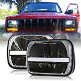 (2 Pcs) DOT approved 5 x 7inch Rectangular LED Headlights w/DRL Turn Signal for Jeep Wrangler YJ Cherokee XJ Trucks Offroad Headlamp Replacement H6054 H5054 H6054LL 69822 6052 6053