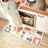 USTIDE Classic Kitchen Comfort Chef Floor Mat, 17.7x59,French Roast Non-Slip Waterproof Kitchen Runner,Oil Proof Multi Area Rugs