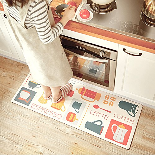 (USTIDE Classic Kitchen Comfort Chef Floor Mat, 17.7x59,French Roast Non-Slip Waterproof Kitchen Runner,Oil Proof Multi Area Rugs )