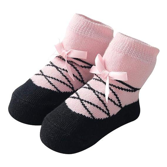 Mitlfuny Recién Nacido Calcetines para Bebés de Algodón Antideslizantes Niños Ballet Jacquard Medias Arco Color Sólido Primavera Otoño Cómodo ...