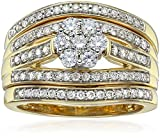 IGI Certified 14k Yellow Gold Diamond Cluster Bridal Set of 3 Wedding Ring Set (1cttw,H-I Color,I1-I2 Clarity), Size 7