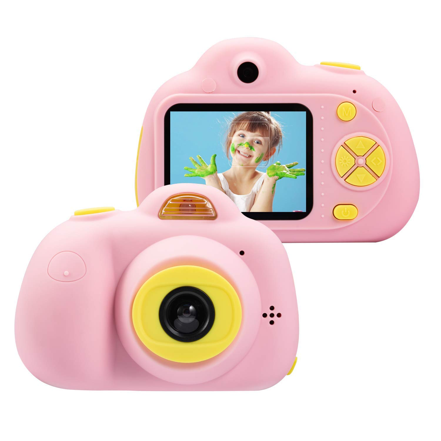 DIIGIITO Kids Camera Gifts for 4-8 Year Old Girls, Shockproof Cameras Great Gift Mini Child Camcorder for Little Girl with Soft Silicone Shell for Outdoor Play,(16GB Memory Card Included) (Pink)