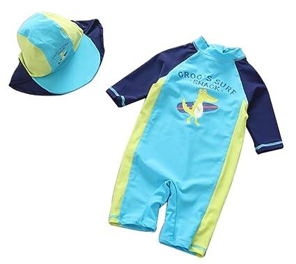e7b3faab37 Kids Baby Boys Cartoon Dinosaurs Half Sleeve One Piece Rash Guard Swimsuit  Sun Protection Size 24