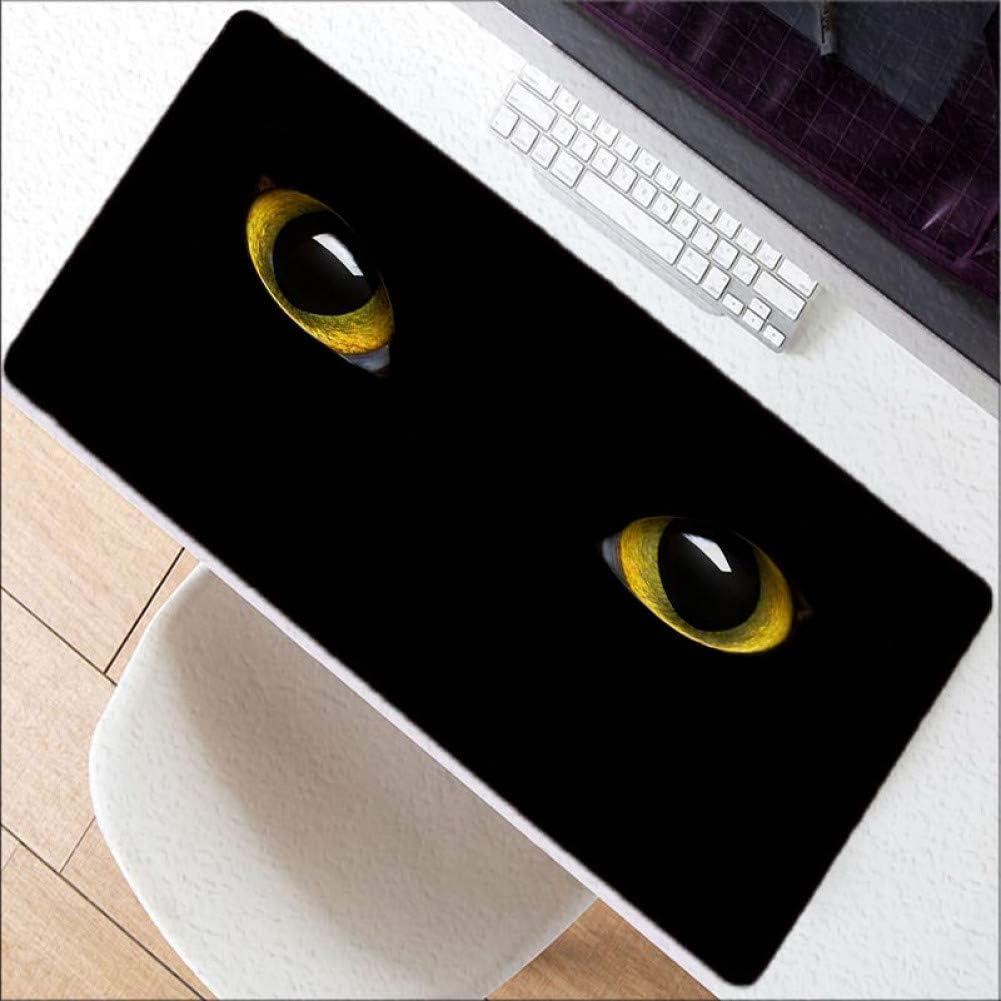 WHFDSBDYellow Eyes Animal Large Gaming Mouse Pad Gamer Locking Edge Mouse Keyboards Mat Big Desk Mousepad