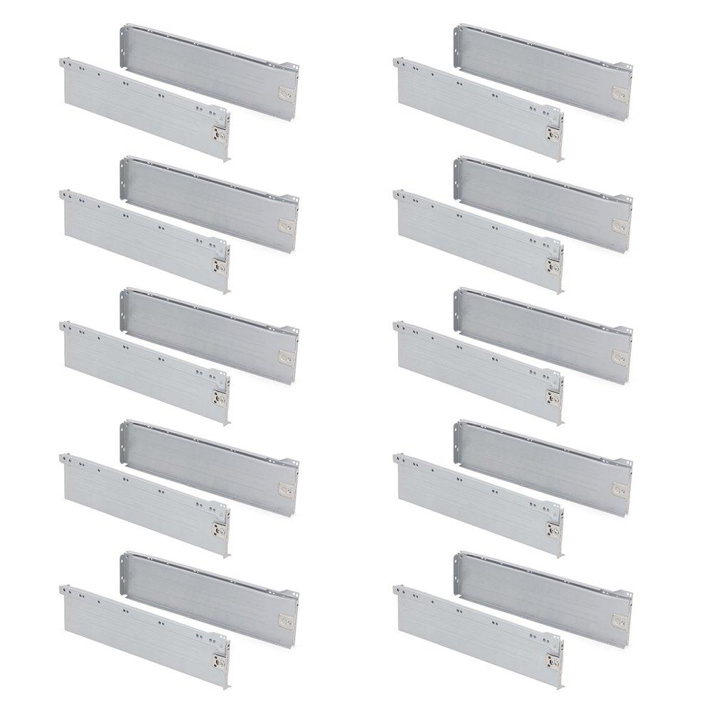 270mm Gris Metalizado Emuca 3041325 Lote de Kits de Caj/ón H118 Set de 10 Piezas