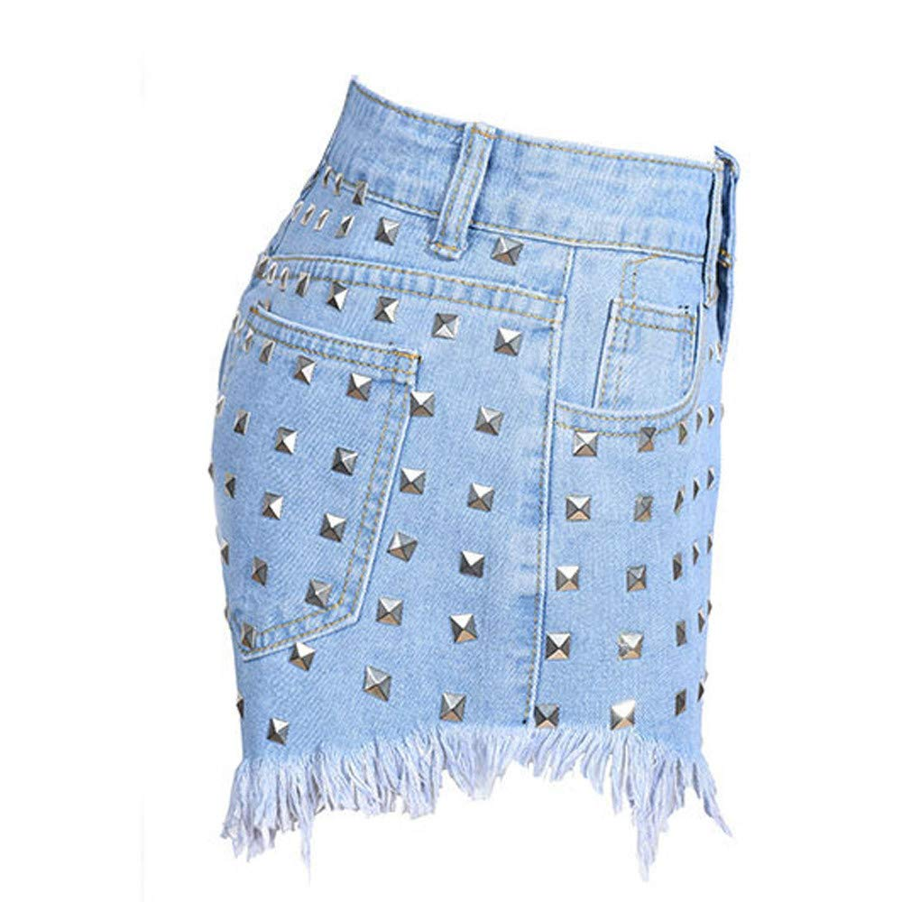 wodceeke Jeans Trousers Fashion Women Rivets Irregular Whisker Solid Color Cowboy Jeans of High Waist Pants
