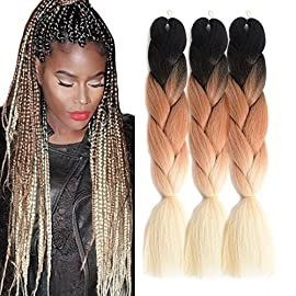 "Ombre Jumbo Braid Hair Extensions 24"" 3Pcs/Lot 100g/Pc High Temperature Kanekalon Synthetic Fiber for Twist Braiding…"