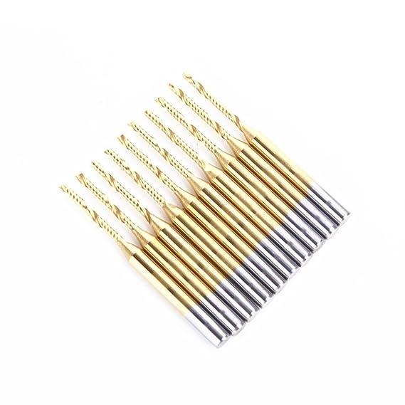 "5x 1//8/"" Titanium N2 Coated Carbide CNC Router Bits Single One Flute Tools 12mm"