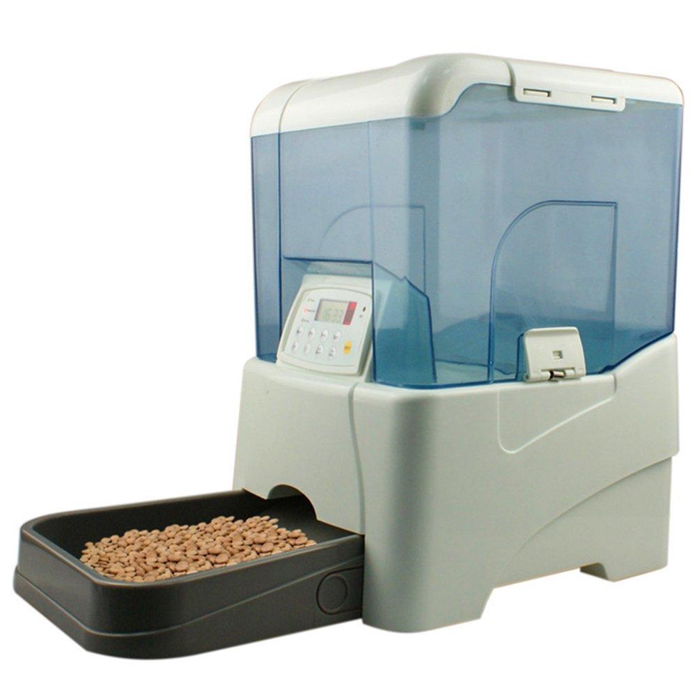 Caco.Ffay Distributore automatico di cibo per animali distributore di alimenti per cani e gatti Batterie quattro D 8 secondi di registrazione la programmazione fino a 5 pasti al giorno (10,6 L)