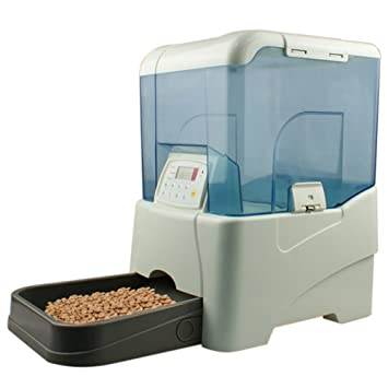 Cacoffay Alimentador Automático De Mascotas Dispensador De Comida Para Perros Y Gatos Cuatro Baterías D Grabación