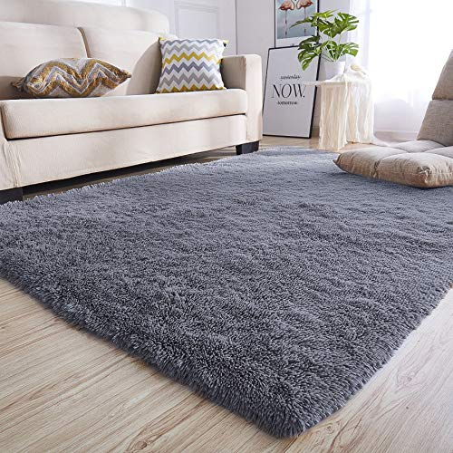 junovo Rectangle Ultra Soft Area Rugs Fluffy Carpets for Bedroom Living Room Shaggy Floor Rug Home Decor Mats, 5.3 x 7.5ft, Grey (Best Carpet For Living Room Area)
