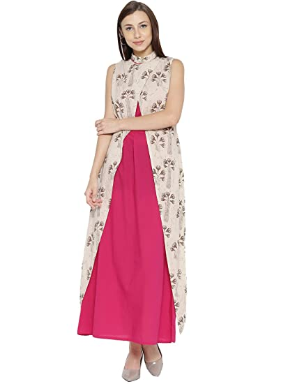 93c1ca2680b Jaipur Kurti Women Printed Layered Maxi Dress (Beige   Pink)  Amazon ...